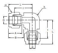 Схема углового соединителя SUPERLOK SUE