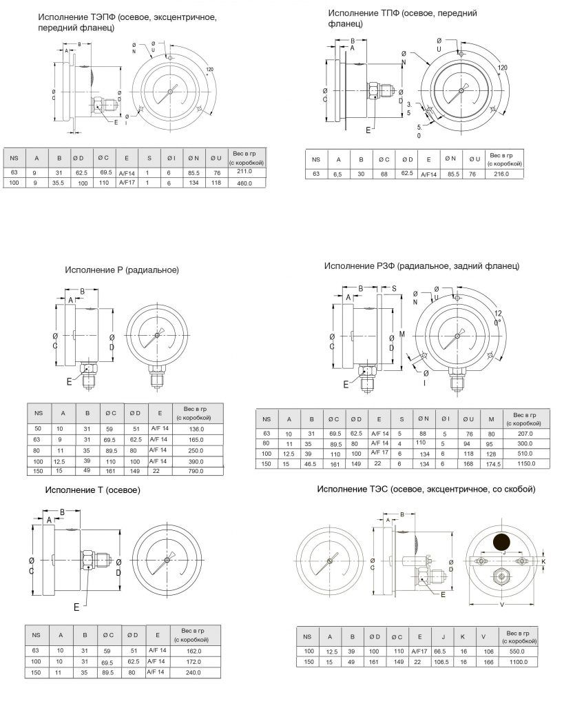 Манометр общетехнический - габаритные размеры
