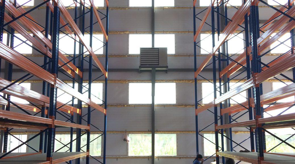 Воздушное отопление склада запчастей
