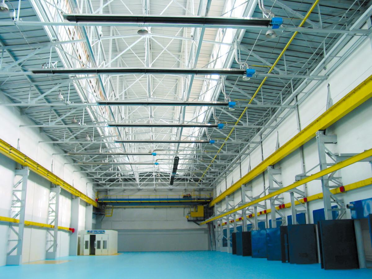 Инфракрасное отопление склада газовыми инфракрасными излучателями