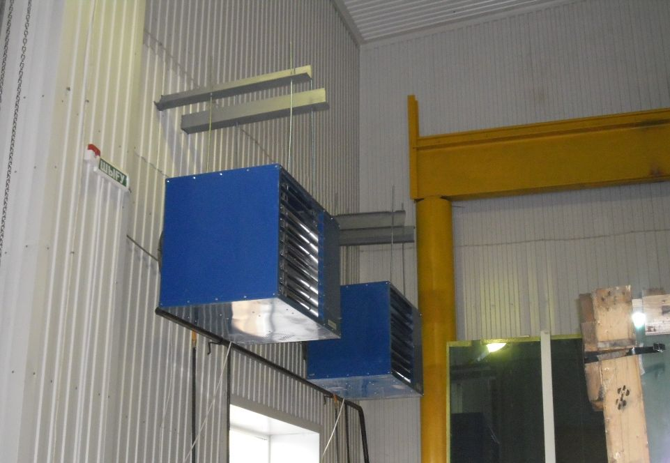 Монтаж подвесного воздухонагревателя