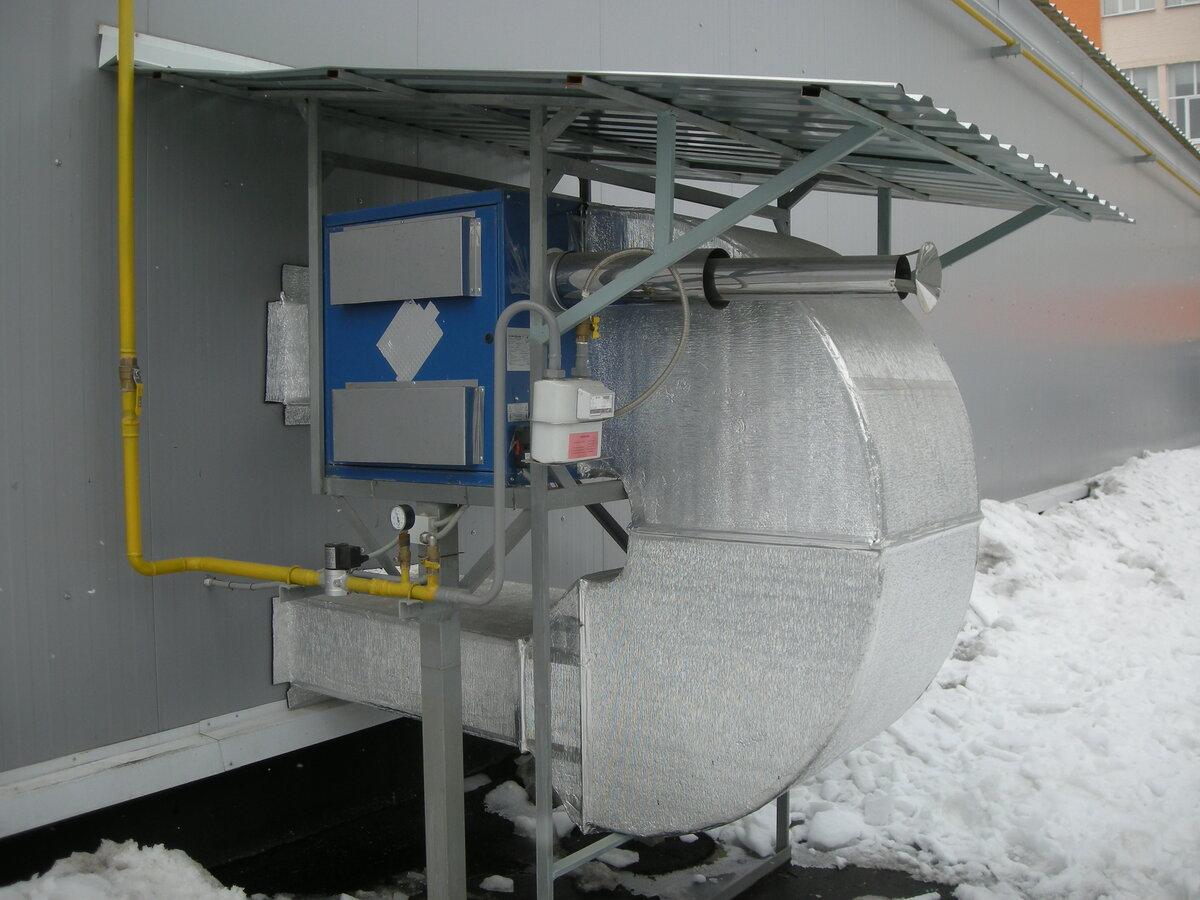 Газовый теплогенератор воздушного отопления в работе